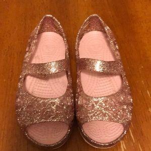 Girls sparkly crocs